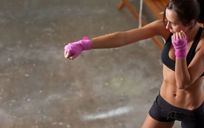sports bra, ponytail, flat belly, boxing, tanned, gloves
