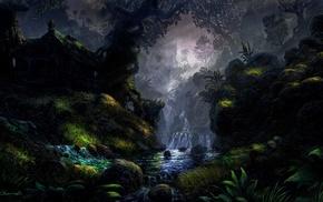 river, fantasy art, grass, trees, rock, DeviantArt