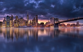 water, Manhattan, skyscraper, urban, clouds, bridge