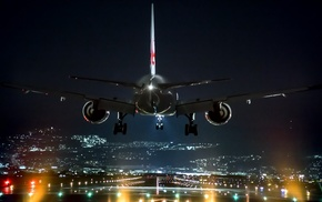 landing, lights, Osaka, night, Japan, airplane