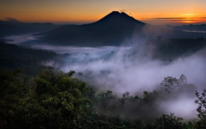 nature, mountain, forest, volcano, mist, valley
