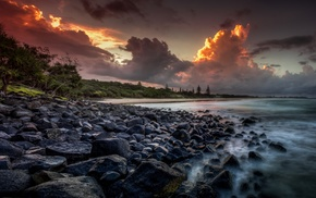 nature, coast, sea, sunset, HDR, Australia