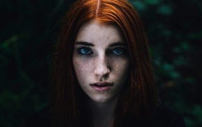 portrait, redhead, girl, face, freckles