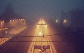night, mist, train station
