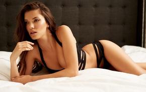 lingerie, legs, lying on front, open mouth, in bed, brunette