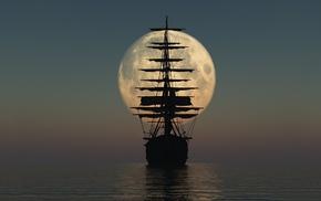 sea, ship, moon