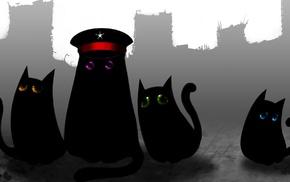 Romantically Apocalyptic, black cats, cat, eyes, gray, animals