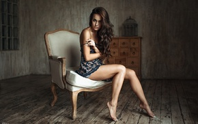 long hair, wooden surface, girl, bare shoulders, looking at viewer, dress