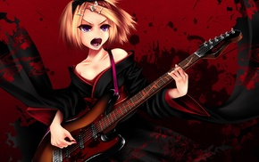 Tengaku, guitar, Kagamine Rin, Vocaloid, kimono, anime girls