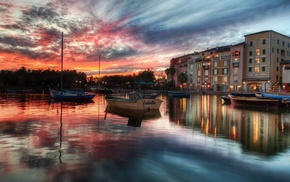 sunset, reflection, building, Italy, water, city