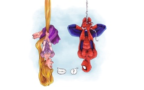 crossover, Tangled, comic books, upside down, Rapunzel, Spider