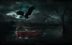 nature, Adobe Photoshop, landscape, photo manipulation, boat