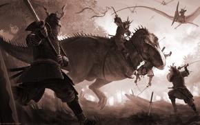 fantasy art, katana, sword, Tyrannosaurus rex, digital art, samurai