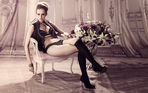 lingerie, bangles, legs  crossed, sitting, stockings, black bras