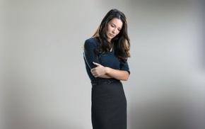 skirt, arms on chest, arms crossed, brunette, Evangeline Lilly, looking down