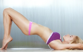 arched back, pink underwear, flat belly, panties, bra, lying on back