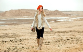 blonde, looking away, girl outdoors, handbags, leather boots, knee