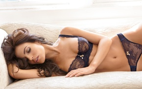 panties, bra, black bras, model, long hair, couch