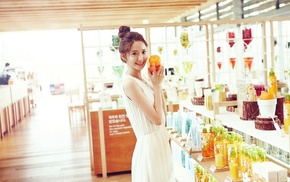 Asian, girl indoors, hair bun, white dress, Im Yoona, brunette