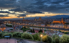 sunset, city, cityscape, river, bridge, Italy