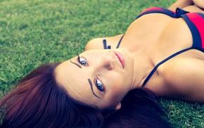 filter, looking at viewer, bra, grass, girl, blue eyes