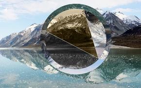 reflection, nature, hill, snowy peak, photo manipulation, mountain