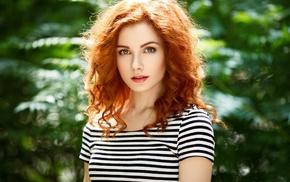girl outdoors, girl, gray eyes, blue eyes, face, redhead