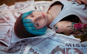 cosplay, girl, blue hair, bra, tattoo, Life Is Strange