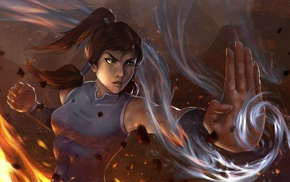 fire, digital art, Korra, The Legend of Korra, girl, artwork