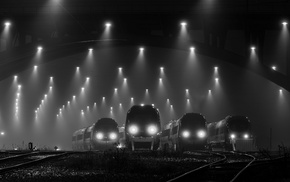 railway, mist, lights, train station, technology, night