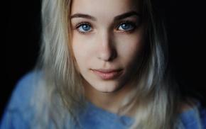 black background, girl, blue eyes, portrait, blonde, face
