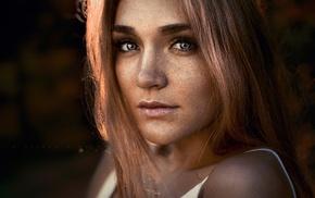 blue eyes, blonde, freckles, girl, portrait, face