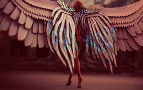 angel, wings, artwork, girl, fantasy art, digital art