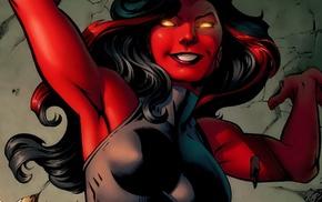 illustration, She, Hulk, Marvel Comics, red