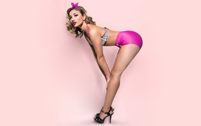 Katherin Aroca, pink background, Katherine Aroca, ass, cleavage, model
