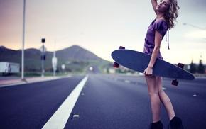 purple dresses, back, Rachel Ann Yampolsky, looking at viewer, skateboard, blonde