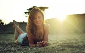 hot pants, smiling, lying on front, feet, sun rays, girl