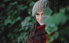 long hair, scarf, brunette, smiling, nature, woolen