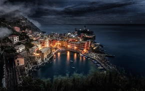 stars, night, building, boat, Italy, sea
