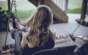 back, porch swing, blonde, jeans, girl outdoors
