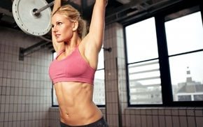 sports, flat belly, armpits, sweat, sports bra, blonde