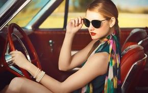 vintage, scarf, sunglasses, sitting, car, blonde
