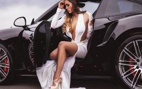 fashion, brunette, sitting, Porsche, car, high heels