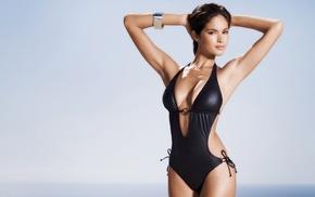 one, piece swimsuit, brown eyes, black swimsuit, Tal Berkovich, swimwear