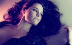 brown eyes, lying on back, dark hair