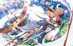 Moriya Suwako, artwork, anime girls, thigh, highs, Touhou