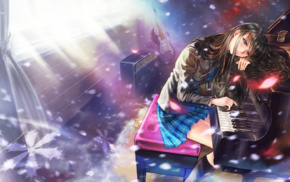 school uniform, Touma Kazusa, White Album, skirt, long hair, blue eyes