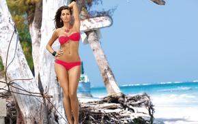 brunette, earrings, bikini, red bikinis, beach, flat belly