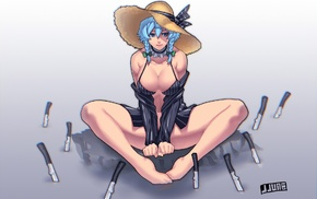 short hair, Izayoi Sakuya, anime girls, legs, Touhou, cleavage