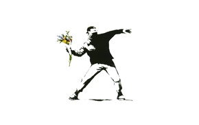 graffiti, white background, flowers, protestors, Banksy, minimalism